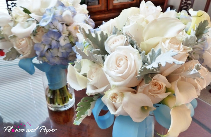 and finished with tiffany blue satin ribbons Bridal Bouquet I created